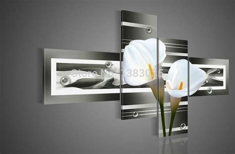 Poster Our Hiasan Dinding painted modern white calla picture painting wall decoration sets 4 panel abstract