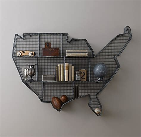 industrial wire cubby usa map shelf