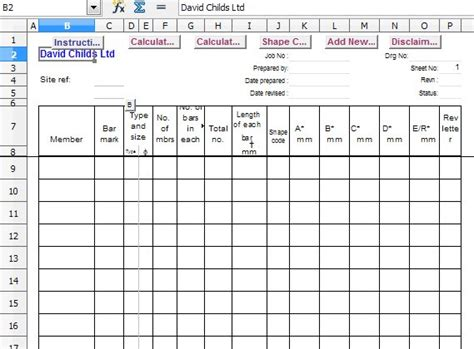 Bar Schedule Calculate Bar Lengths For Reinforcement Scheduled In Accordance With Bs 8666 2005 Bar Schedule Template