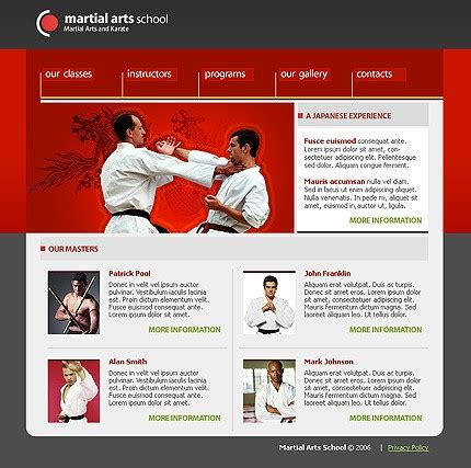 website templates for karate martial arts website template 11100