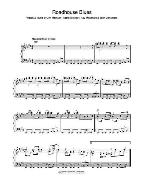 roadhouse blues sheet by the doors piano 102866