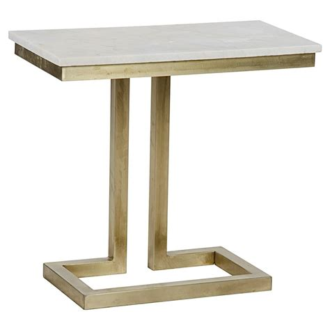Quartz Side Table Georgette Modern Antique Brass White Quartz Side Table Kathy Kuo Home