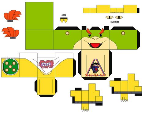 Paper Craft Mario - bowser jr mario 1 cubeecraft papercraft by