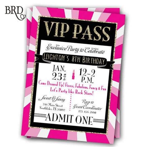 Vip Pass Invitation Glitz Glamour Rock Star Party Printable Vip Birthday Invitations Templates Free