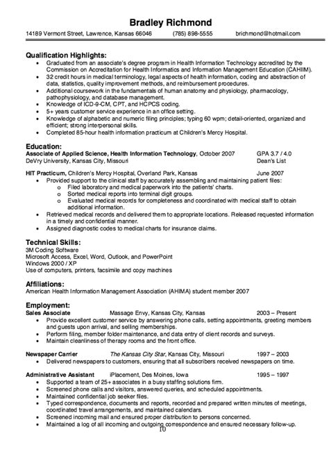 Health Information Technician Sle Resume by Information Technology Sales Resume 28 Images Sle Resume Health Professional Healthcare
