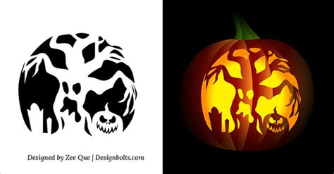 10 Free Printable Scary Pumpkin Carving Patterns, Stencils ... Pumpkin Pattern Free