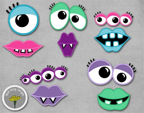free printable monster eyes and mouth items similar to girly monster photo props printable