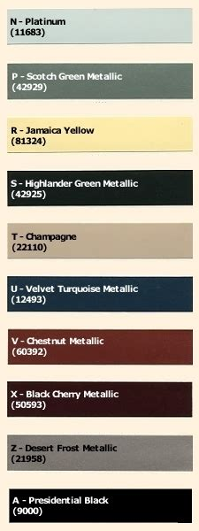 1962 lincoln continental paint codes
