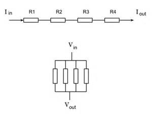 electric circuits current in series resistors and voltage drop in parallel resistors physics