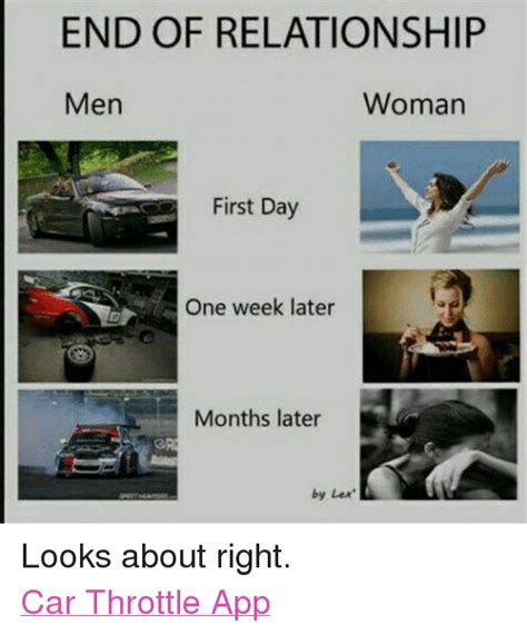 End Of Relationship Meme - end of relationship woman men first day one week later