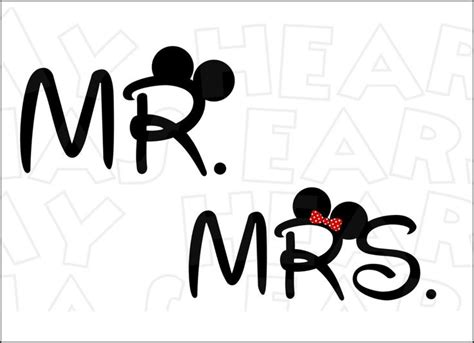 mr clipart mr and mrs with mickey minnie ears instant