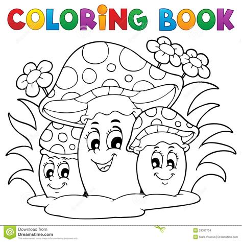 Coloring Book Mushroom Stock Vector Illustration Of Drawing 29357734 Colouring Book