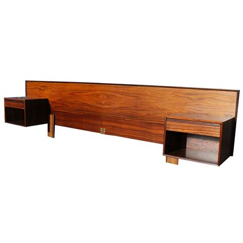 Headboard With Attached Nightstands vintage rosewood headboard nightstands tables ebay