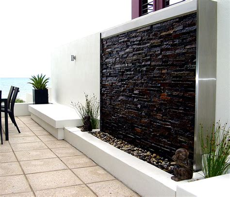 modern wall fountains outdoor clad water wall contemporary outdoor fountains