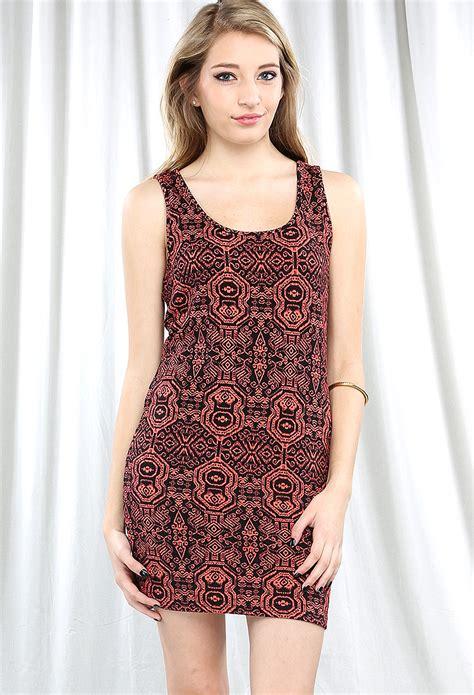 Dress Triball 2 tribal print bodycon dress shop dresses at papaya clothing