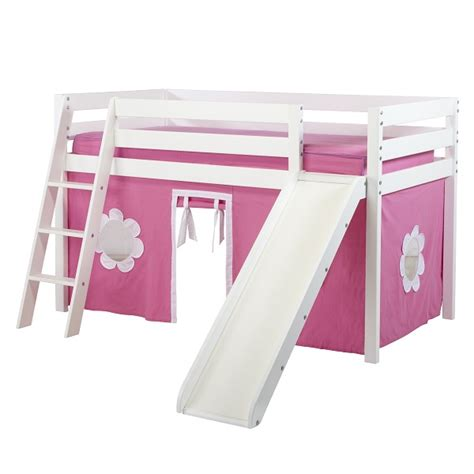 loft bed with curtains girls low loft bed in white with ladder slide and hot