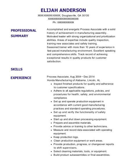 Process Associate Resume