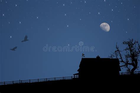 silhouette   house  night stock photo image