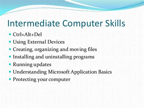 intermediate computer skills