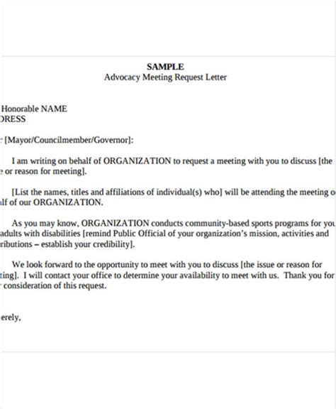 Official Letter Requesting For A Meeting 7 Meeting Appointment Letter Template 8 Free Word Pdf
