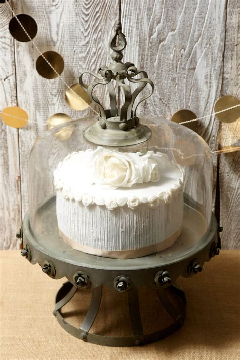 glass dome covered zinc rustic cake stand