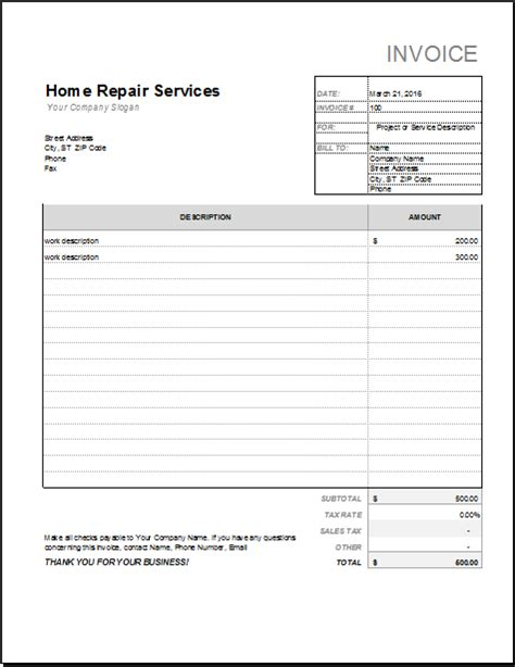car service receipt template free printable blank invoices car