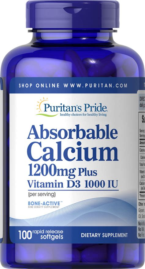 Absorbable Calcium 1200 Mg Vit D 1000 Iu 100 Softgels Puritan oyster shell calcium 250 mg supplements with vitamin d by kpp 100 tablets find it at shopwiki