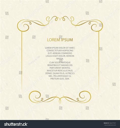 Place Card Template Stock by Vector Decorative Frame Element Design Stock