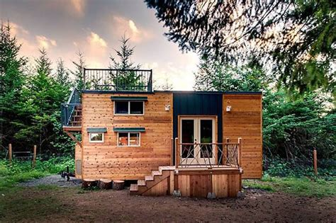Tiny House Deck by Basecamp Tiny Home Has Huge Roof Deck Built For Mountain