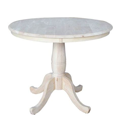 Unfinished Kitchen Tables Unfinished 36 Inch Pedestal Dining Table International Concepts Dining Tables