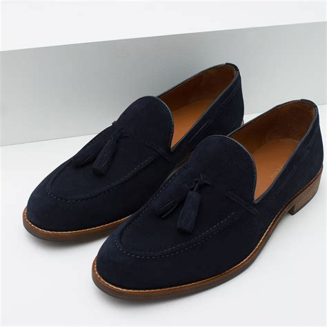 zara loafers zara suede tassel loafers in blue for lyst