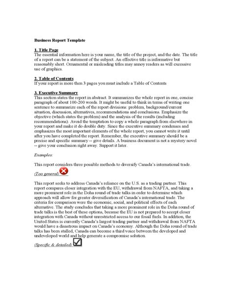 basic business template basic business report template free