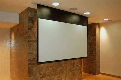 ceiling mounted electric projector screen grandview cyber series 7ft electric in ceiling projector