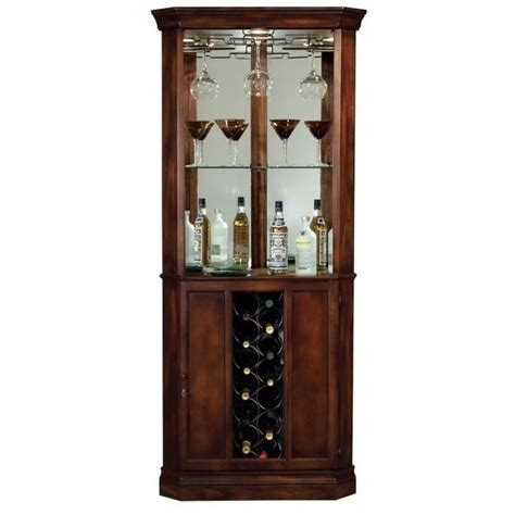Howard miller piedmont wine and spirits corner home bar cabinet in cherry 690000