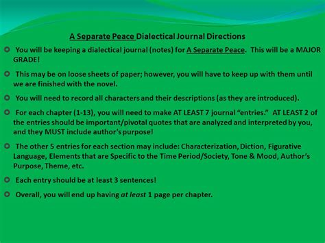 theme quotes in a separate peace a separate peace dialectical journal directions ppt