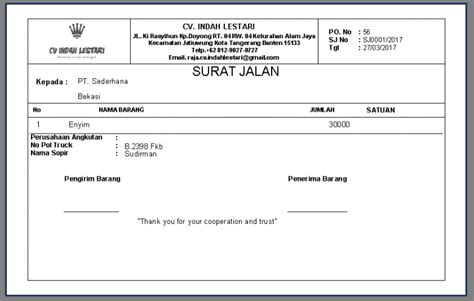aplikasi cetak invoice dan surat jalan adi