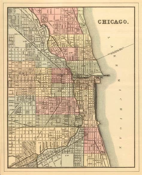 vintage chicago map chicago map map of chicago print vintage chicago map