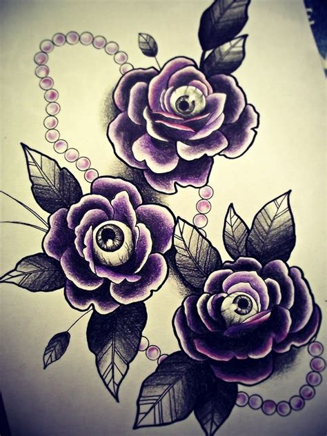 tattoo flash art roses and eyeball