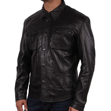 s black leather shirt jacket atlantic