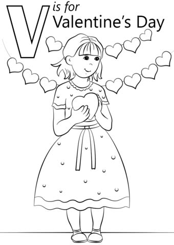 v is for valentine s day coloring page free printable