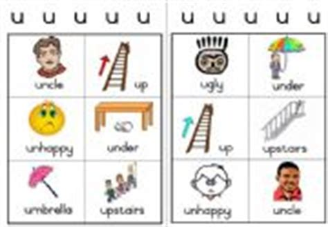 scrabble words beginning with u workcard two workcards with pictures and words starting