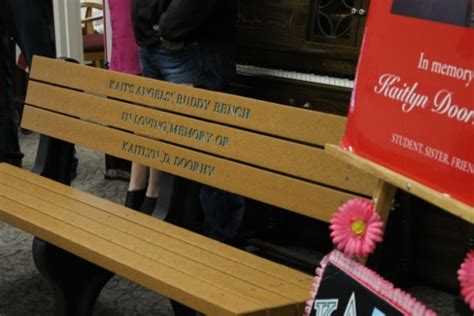 buddy bench story kait s angels donates buddy bench to human resources center