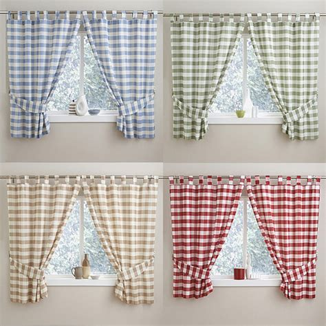 check gingham kitchen curtains with tab top header blue