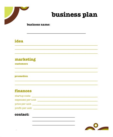 business plan templates free business plan template 11 free word pdf documents