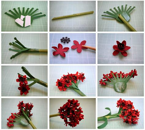 How To Make A 3d Flower Out Of Construction Paper - bits of paper ixora and geranium 3d paper flowers and a