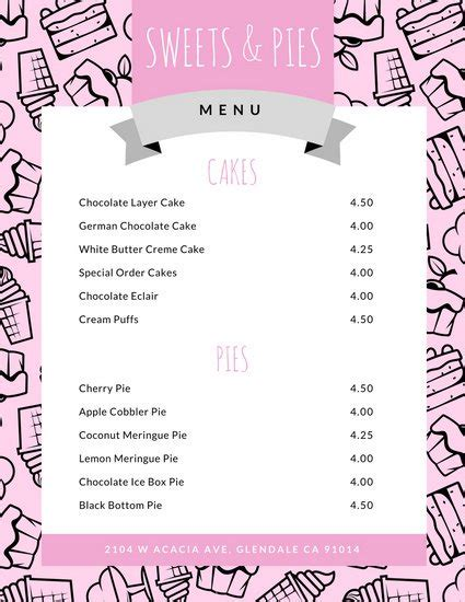 Customize 592 Dessert Menu Templates Online Canva Dessert Menu Template Free