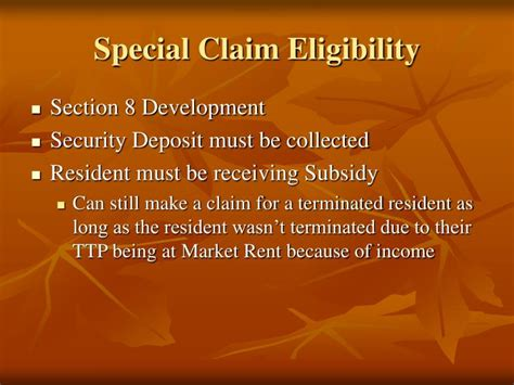 how to be eligible for section 8 ppt guidance for completing special claims powerpoint