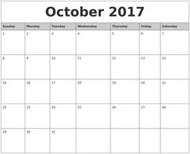 Calendar 2017 Monthly October October 2017 Monthly Calendar Printable