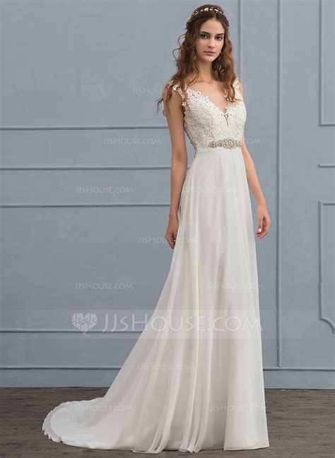 Court Wedding Dress by A Line Princess V Neck Court Chiffon Wedding Dress