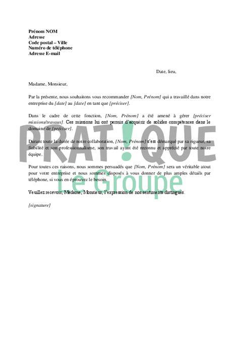 Exemple Lettre De Recommandation Pour Emploi Lettre De Recommandation Pour Un Emploi Pratique Fr